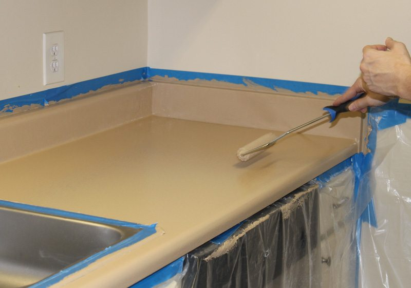 And cabinet tops white counter slab-type doors create