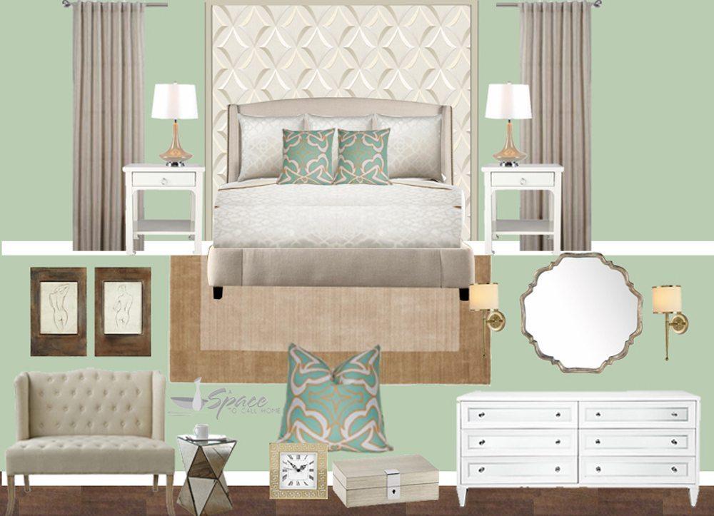 Mint green and gold master bedroom design for Interior design bedroom green