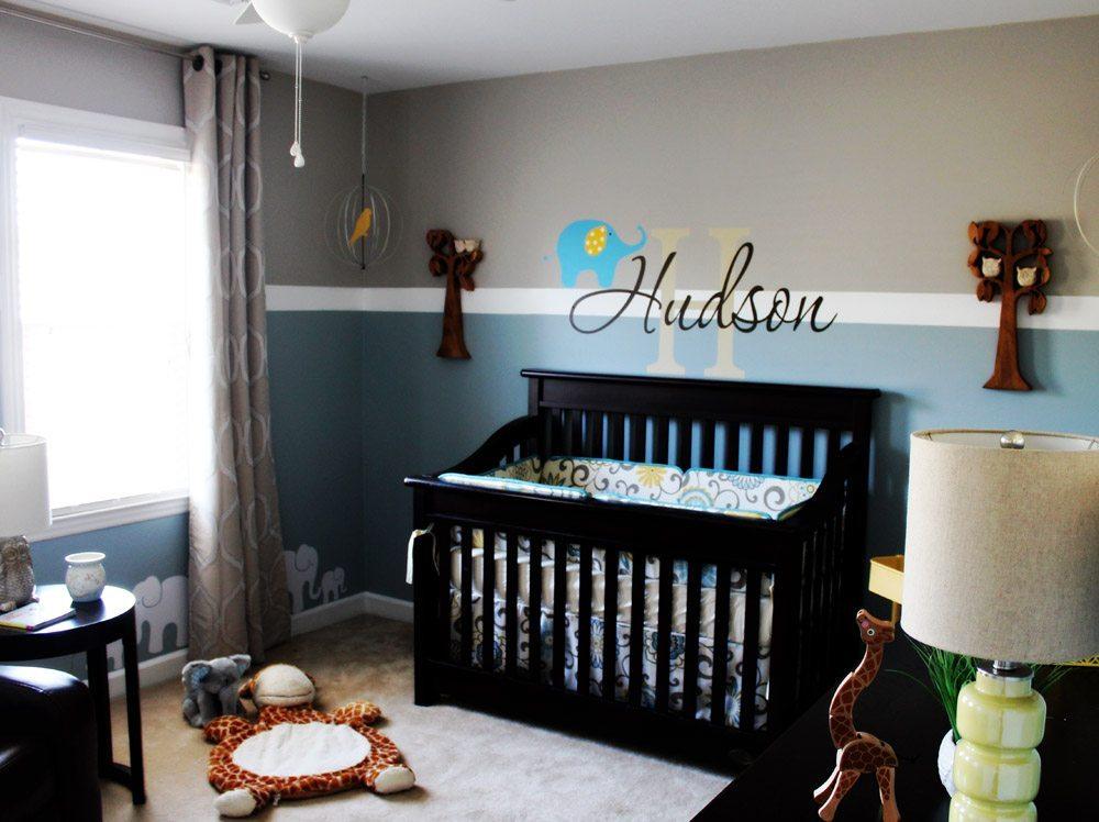 Baby boy nursery ideas giraffe owl elephant theme - Room design for baby boy ...
