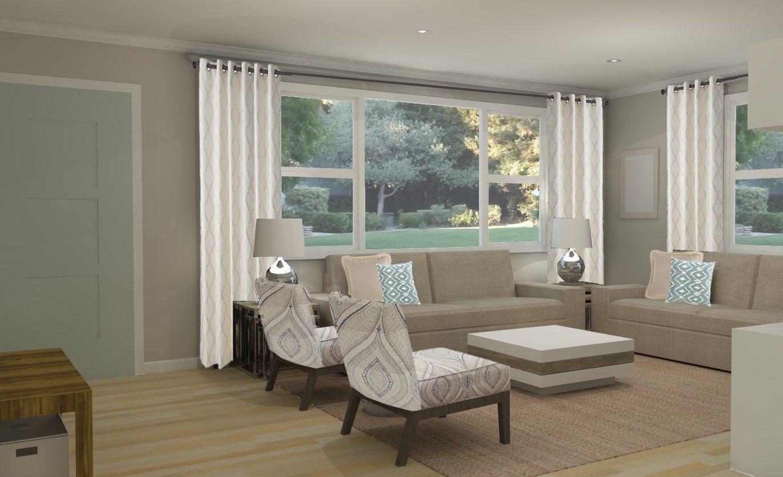 Virtual Interior Home Design - 3D Model Contemporary Living Room Design