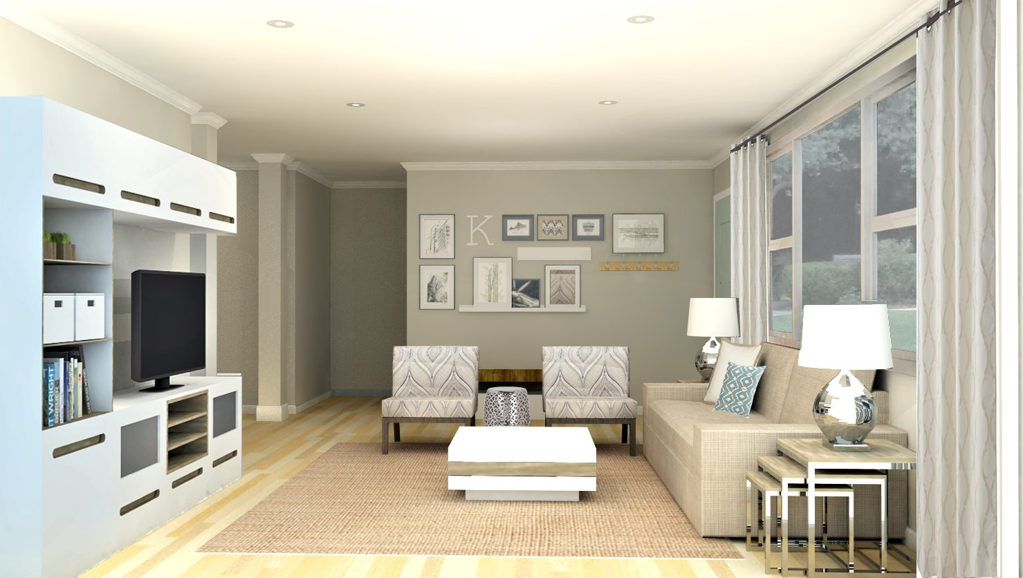 Virtual living room design modern house for Cool modern living rooms