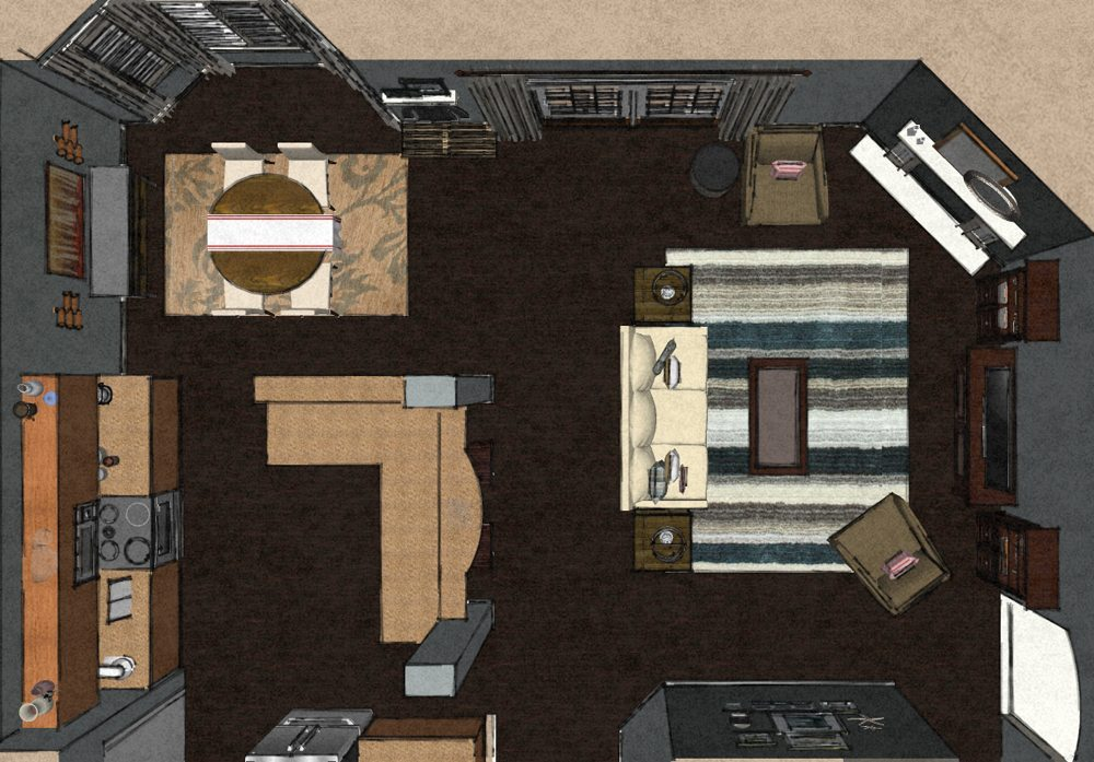 Transitional Virtual Living Room Design Layout A Space