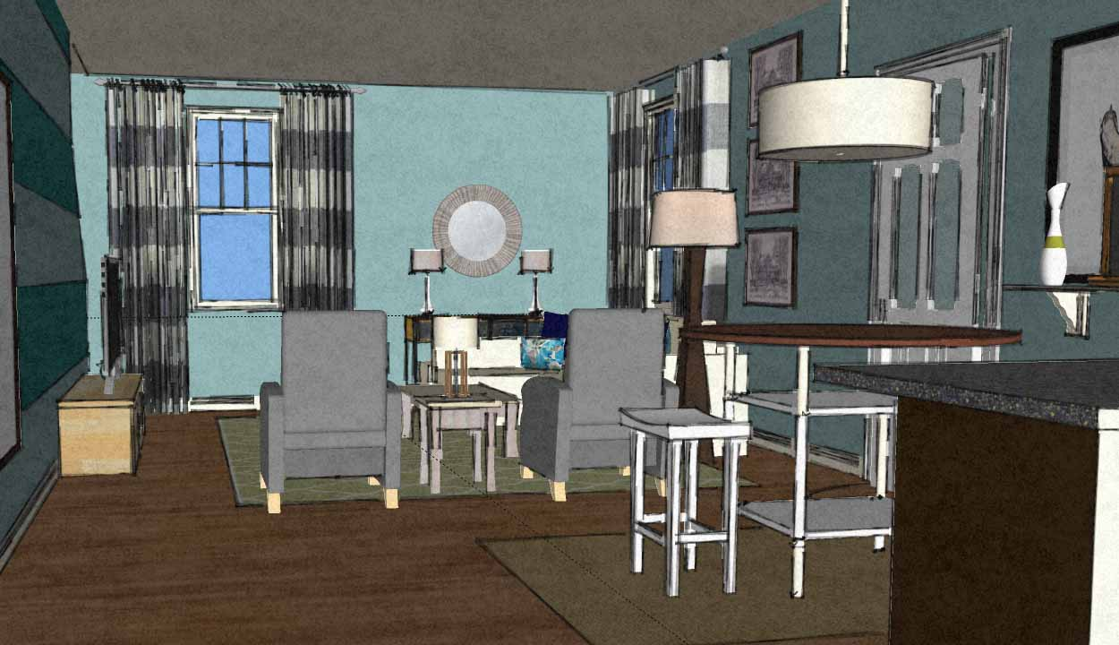 Coastal contemporary living room virtual interior design view4 a space to call home - Virtual interior design ...