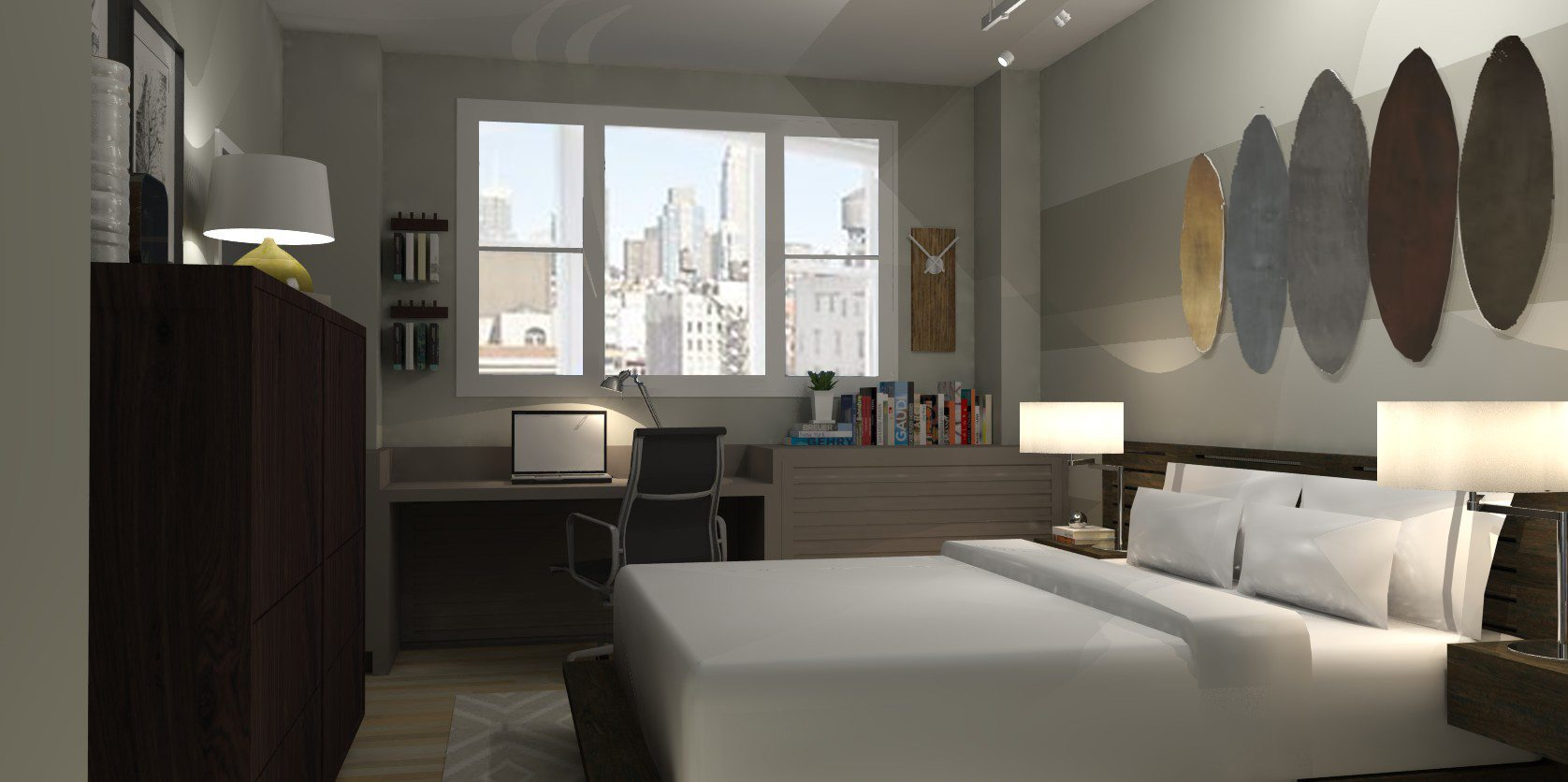 Loft apartment bedroom industrial modern a space to for Virtual bedroom designer