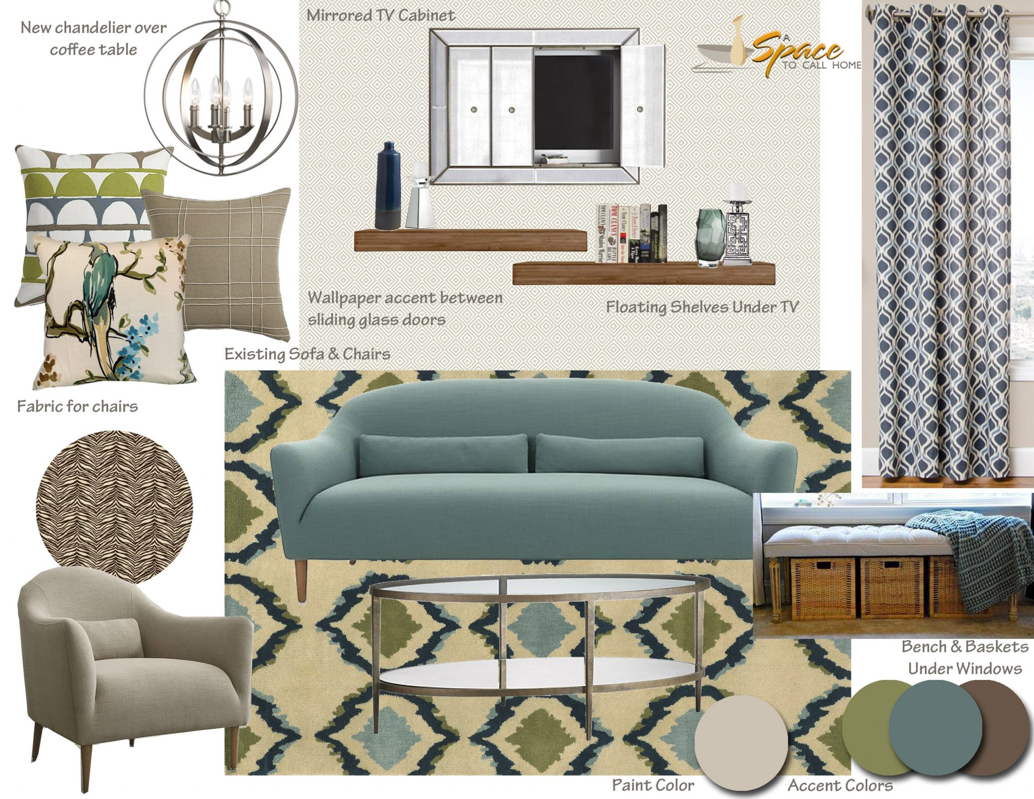 Mid century modern living room inspiration board a space for Interior design inspiration rooms