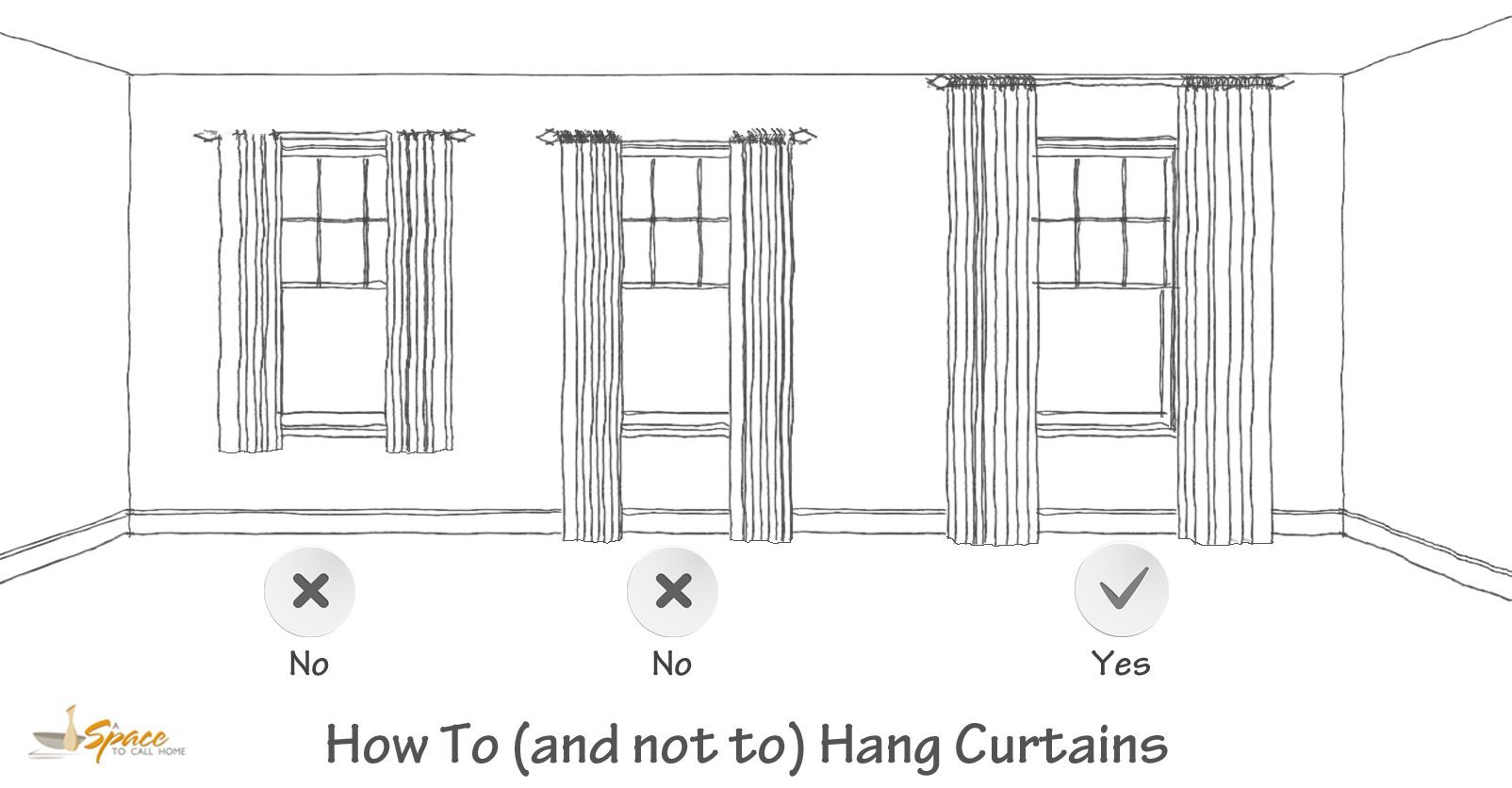 How To Hang Curtains Ilration