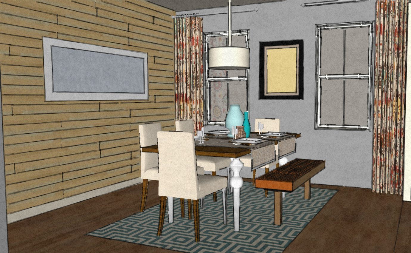 Modern dining room with wood pallet wall a space to call for Wood wall dining room