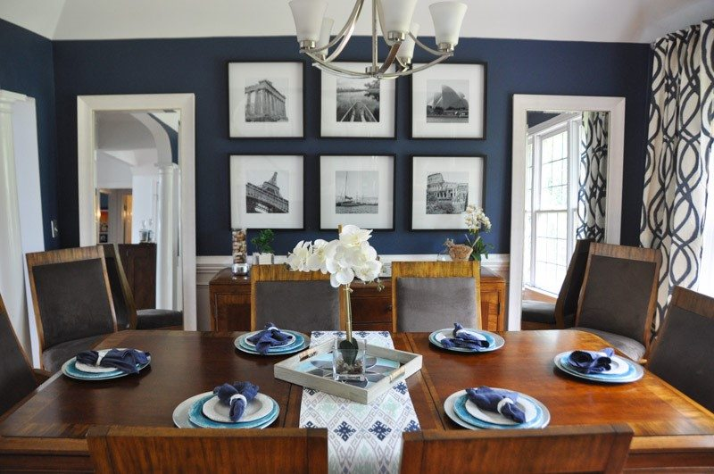 Modern dining room design ideas blue teal a space to for Navy dining room ideas