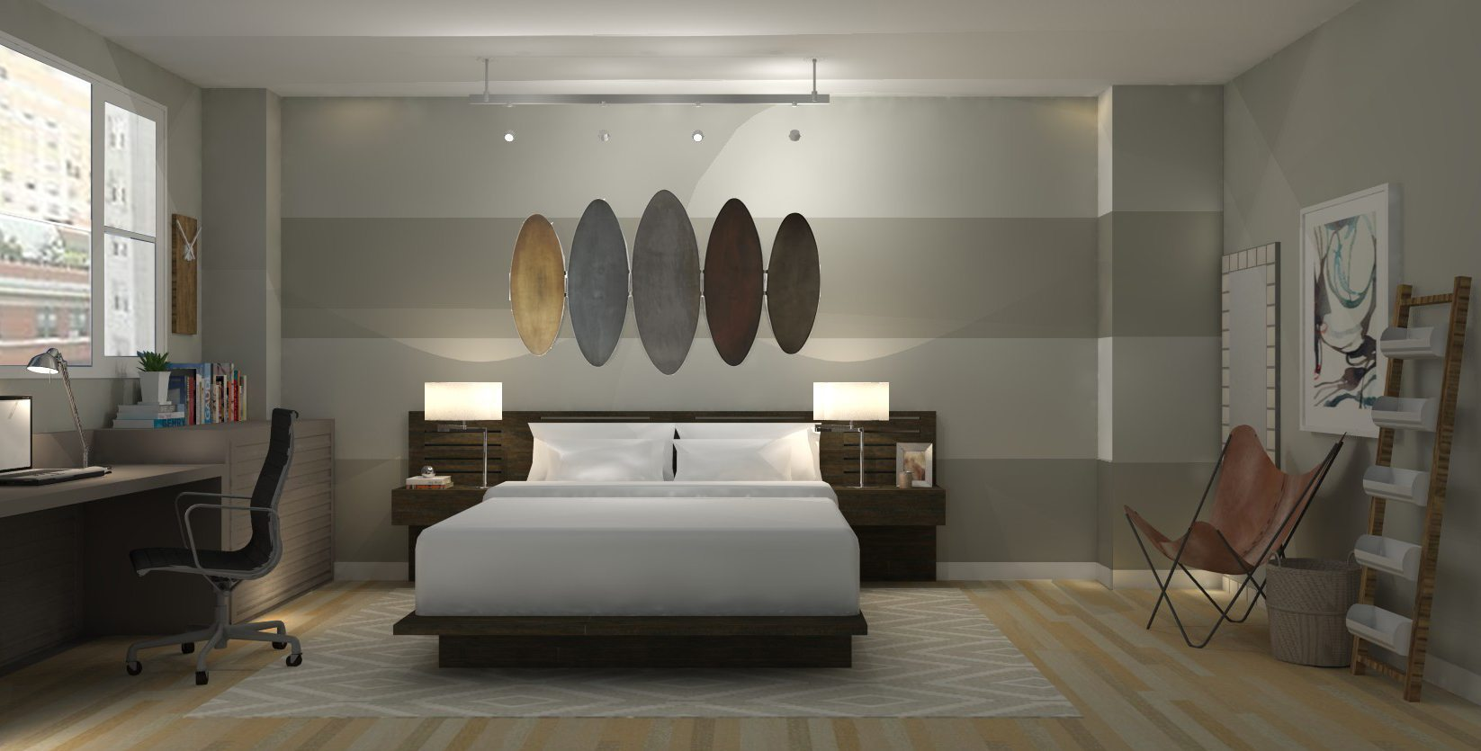 loft apartment bedroom industrial modern a space to 11891 | loft apartment master viewofbed